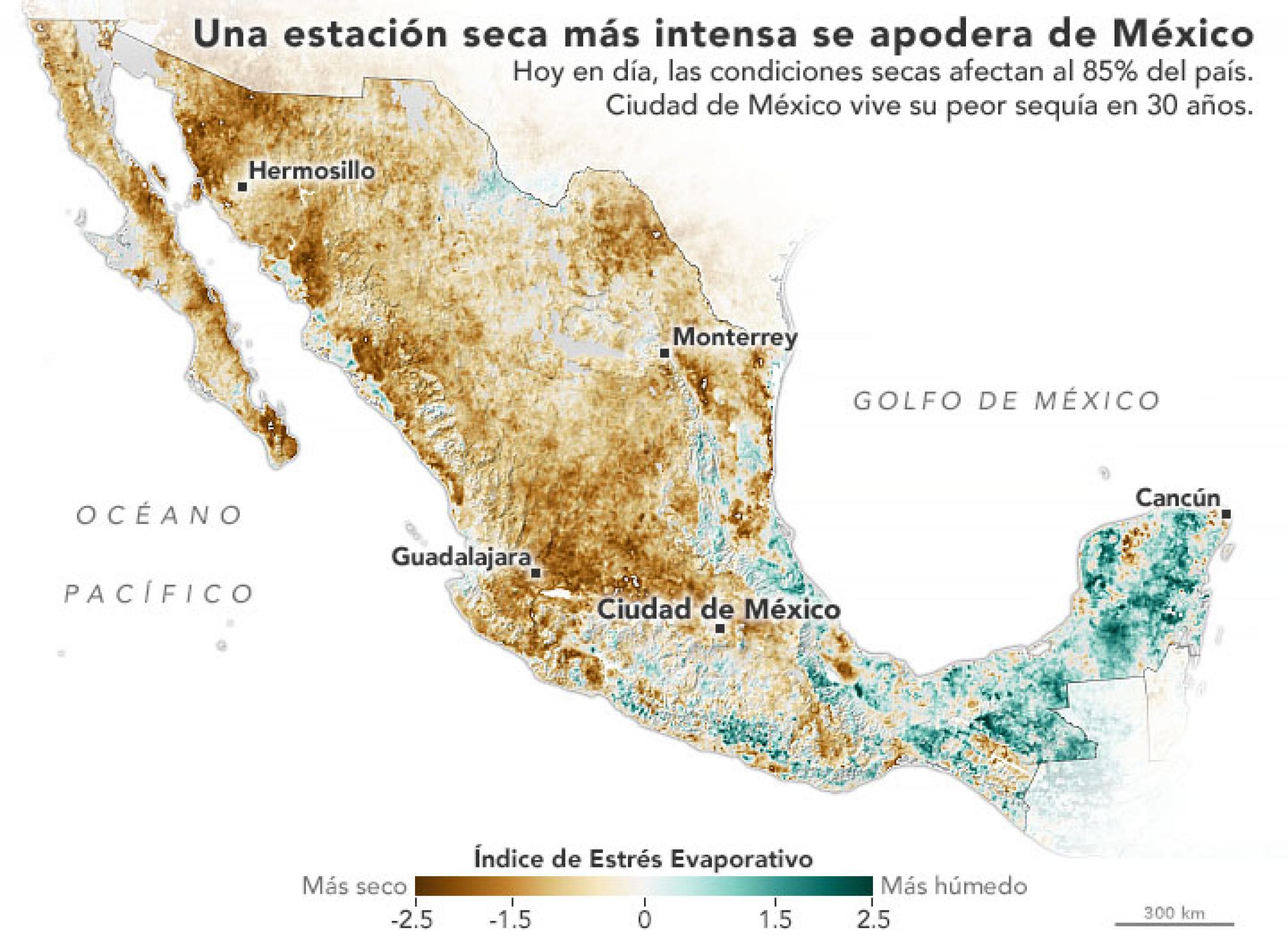 Mapa sequía en México