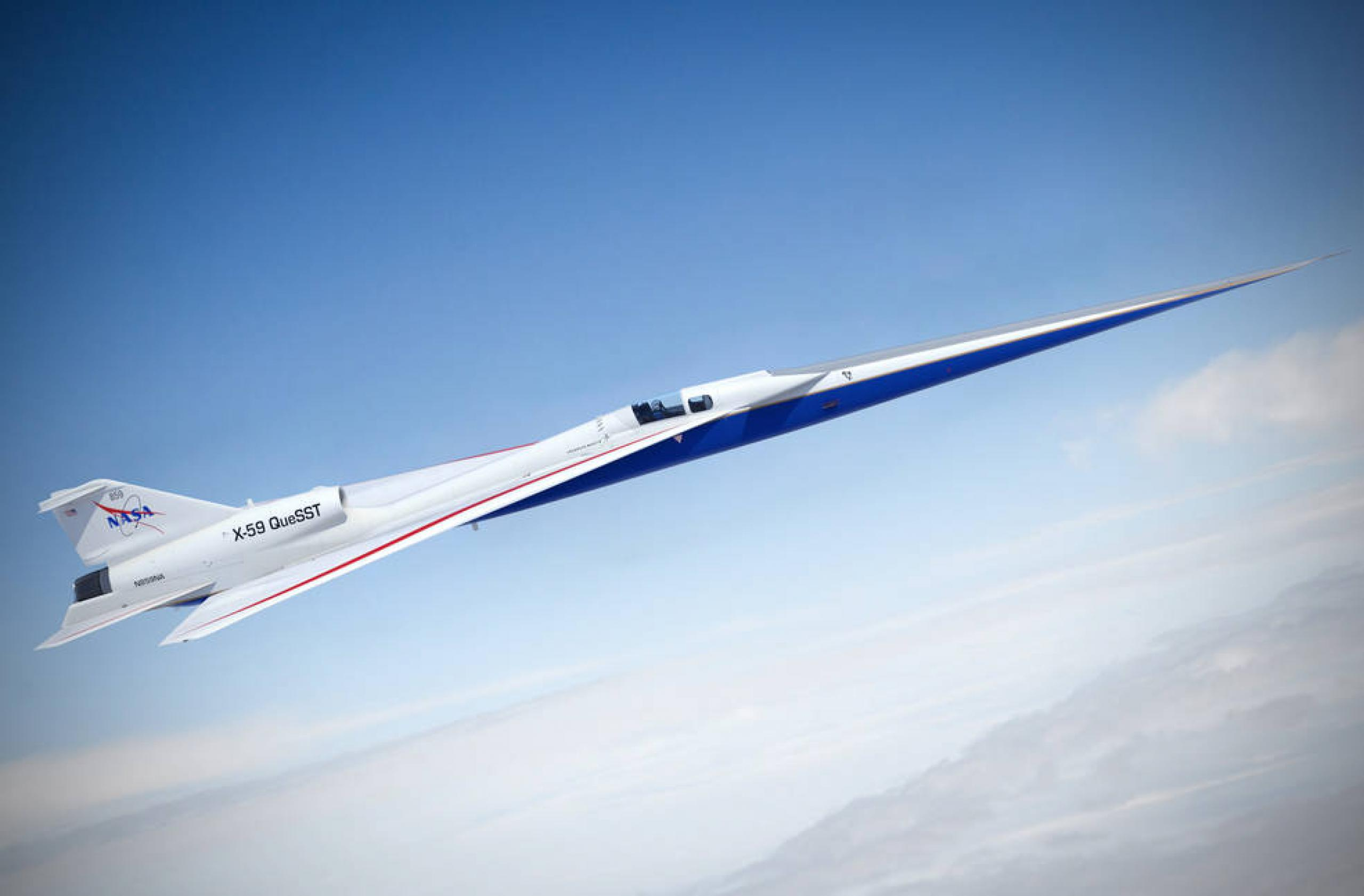 Ilsutración del avión X-59 de la NASA
