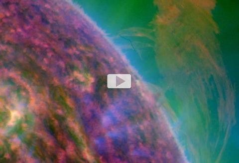 El SDO observa una erupción solar masiva y lluvias abrasadoras (imagen fija en múltiples longitudes de onda)