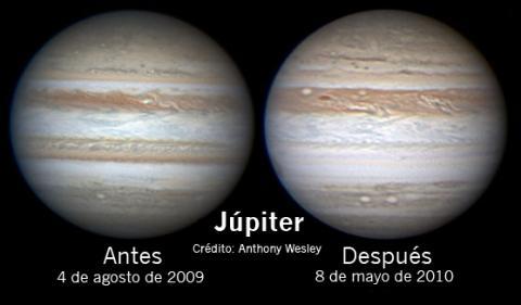 Júpiter pierde un cinturón (antes y después, 568px)