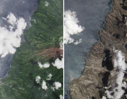 Erupción en La Soufrière, antes y después
