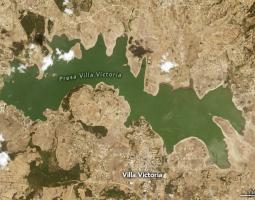 Mapa sequía Presa Villa Victoria en México
