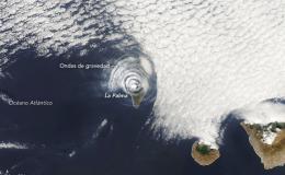Vista satelital del volcán de Cumbre Vieja
