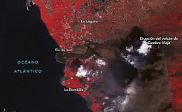 Vista de la erupción del volcán de Cumbre Vieja