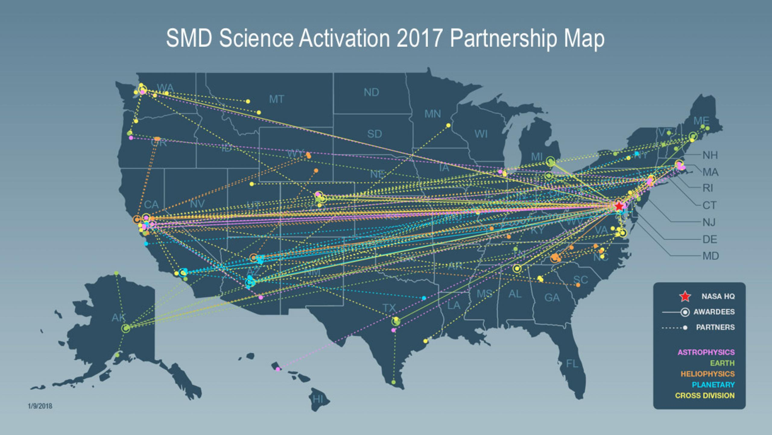 SMD Science Activation 2017 Partnership Map