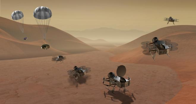Artist concept of Dragonfly mission on Titan surface