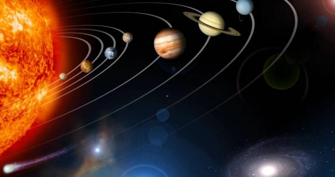 artist rendition of sun and planets in solar system