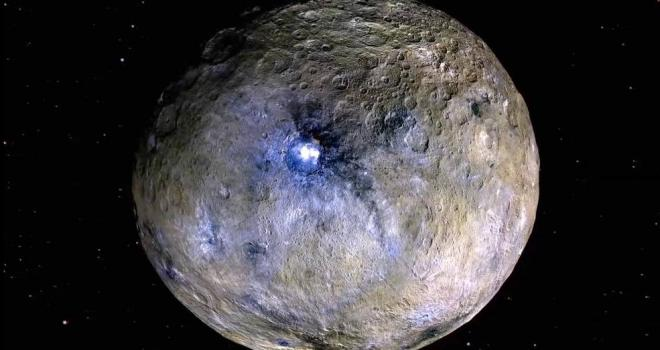 This false-color image of Ceres highlights differences in surface materials. The color diversity of the material within Occator Crater (center) and its ejecta reveals the elaborate composition of Ceres' crust.