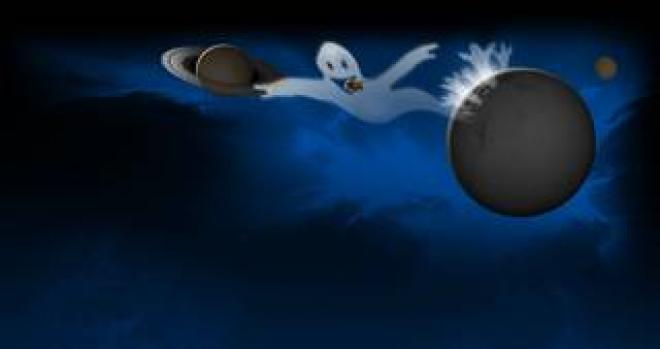 Halloween image of ghost and planets