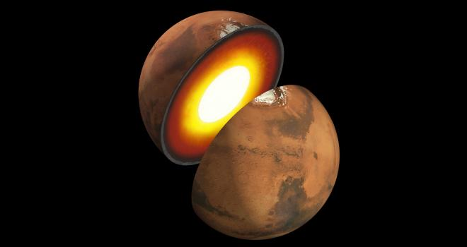 Artist's rendition showing the inner structure of Mars