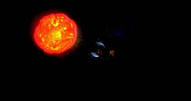Illustration of Solar Probe approaching orange and yellow sun