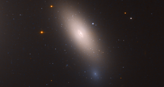 closeup of blurry galaxy with defined center