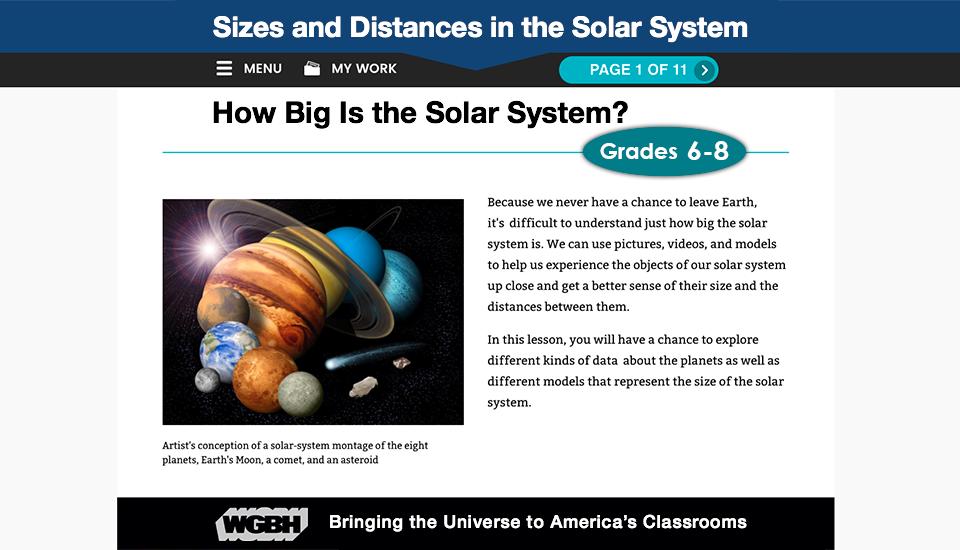 Screenshot of planetary web site