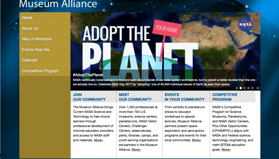 Screenshot of NASA's Museum Alliance Web Site