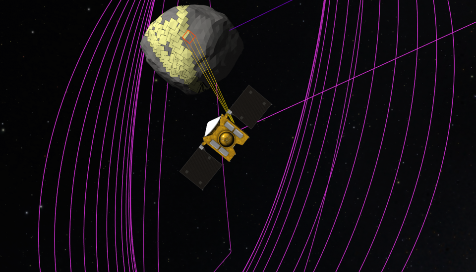 visualization of the OSIRIS-REx space craft's projected image mapping campaign on asteroid Bennu