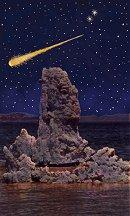 artist's concept of a Geminids fireball streaking above a salt tower in Mono Lake, CA.