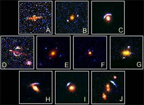 Top ten Hubble gravitational lenses