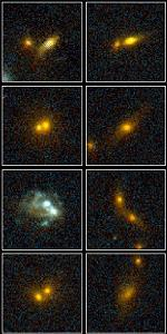 HST images of merging galaxies in the cluster MS1054-03