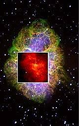 Crab nebula, with HST inset of core