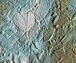 Fractured terrain on Europa -- image credit: Galileo