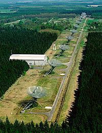 an array of radio antennas at Westerbork