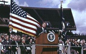 John F. Kennedy delivers a speech at Rice University