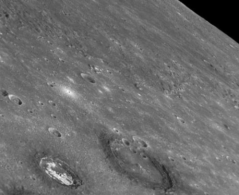 A picture of two craters in Caloris Basin