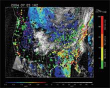Composite of NASA aerosol and cloud data, in situ EPA data, and NOAA wind and fire data