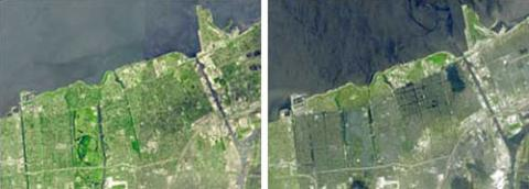 The left photo is a mosaic of images taken of New Orleans by NASA's Terra satellite in April and September 2000. The right photo, taken by the same spacecraft, shows New Orleans on September 15, 2005, with flooding caused by Hurricane Katrina