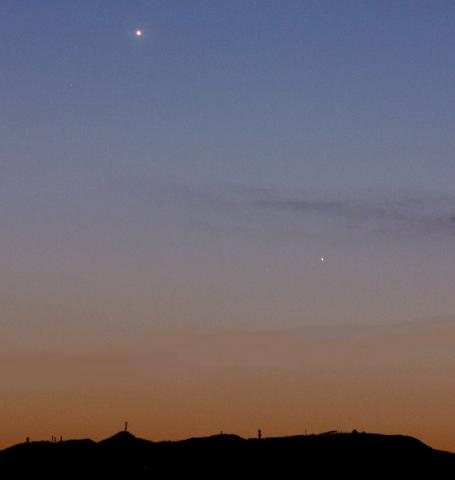 Venus and Mercury converging over Saitama, Japan