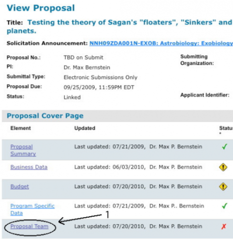 choose Proposal Team from the view proposal window