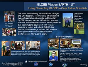 "Thumbnail of PowerPoint slide entitled ""GLOBE Mission EARTH - UT Using Elementary GLOBE to Grow Future Scientists"""