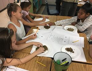 4th grade students examine small rocks on paper plates