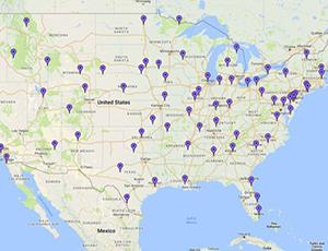 Map of the U.S. with purple pins indicating NASA@ My Library pilot and partner libraries