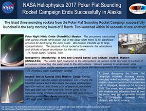 "Thumbnail of PowerPoint slide entitled ""NASA Heliophysics 2017 Poker Flat Sounding Rocket Campaign Ends Successfully in Alaska"""