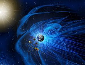 Artist's rendering of Earth's magnetosphere with MMS