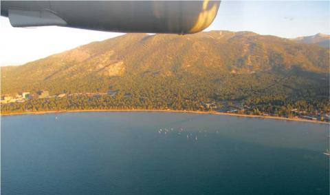 Photograph from aircraft over Lake Tahoe
