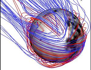 3-D map of Mars' magnetic topology depicting red and blue magnetic field lines