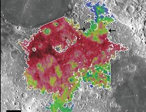 Red (northwestern) and green (southern) areas of Mare Tranquillitatis