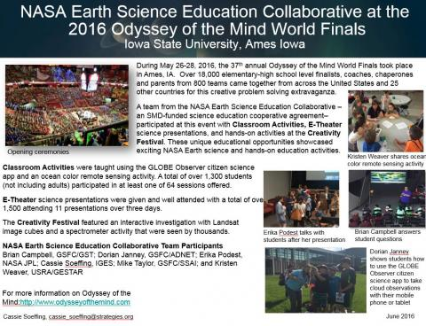 "Thumbnail of PowerPoint slide entitled ""NASA Earth Science Education Collaborative at the 2016 Odyssey of the Mind World Finals"""
