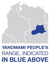 Yanomami People's range, indicated in blue above