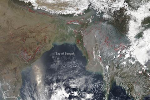 Satellite image of smoke from fire in Nepal