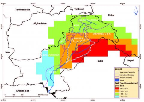 Map of total water shortage anomalies, Indus Basin of Pakistan