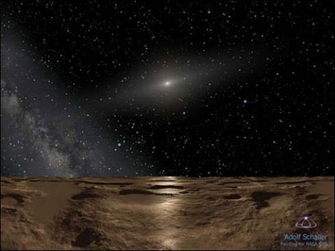 Illustration of the rocky surface of a planetoid with the universe in the back