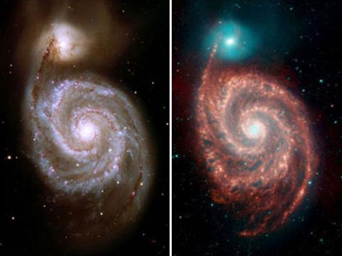 Infrared images of a whirlpool galaxy; purple, red and blue against a starry black universe