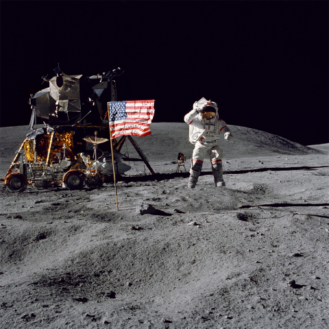 Man in the moon with American flag