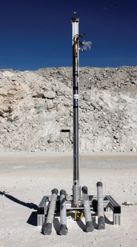 Photograph of the auto-gopher 1 on a gypsum terrain