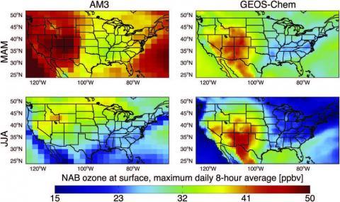 Ozone satellite data map of united states