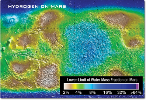 A color map of Mars showing the distribution of hydrogen by mapping the lower-limit of water mass fraction.