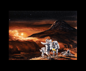 Artwork of astronauts on moon